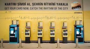 distribudores de Istanbulkart en el nuevo aeropuerto de Estambul