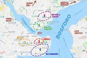mapa de los mejor barrios donde alojar en Estambul